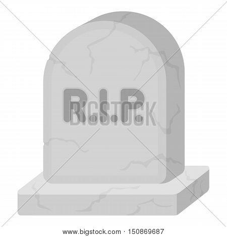 Headstone icon in monochrome style isolated on white background.   white magic symbol vector illustration.