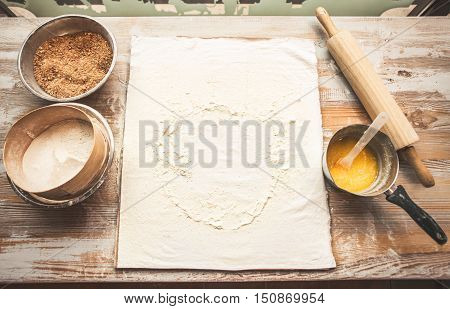 Baking background with eggs flour rolling pin. Free space for text