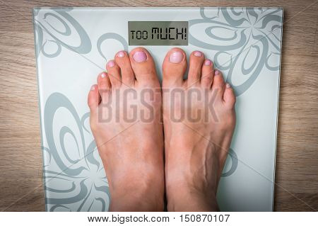 Woman's Feet On A Scale With Word Too Much!