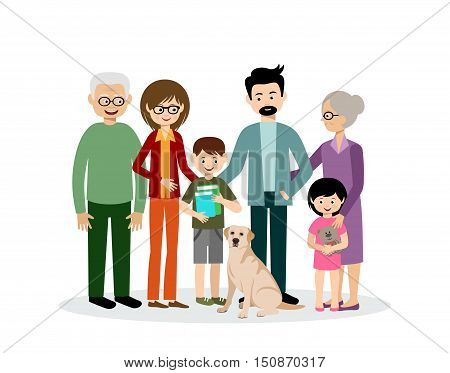 Family. Parents children grandmother and grandfather. Grandson and granddaughter. Son and daughter. Dog. Vector