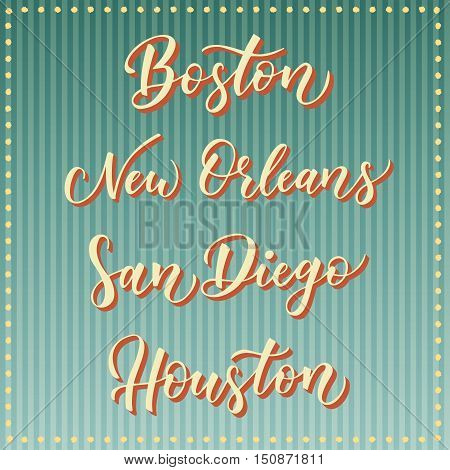 American city vector lettering. Typography - Boston New Orleans San Diego Houston on retro striped blue background. USA town text.