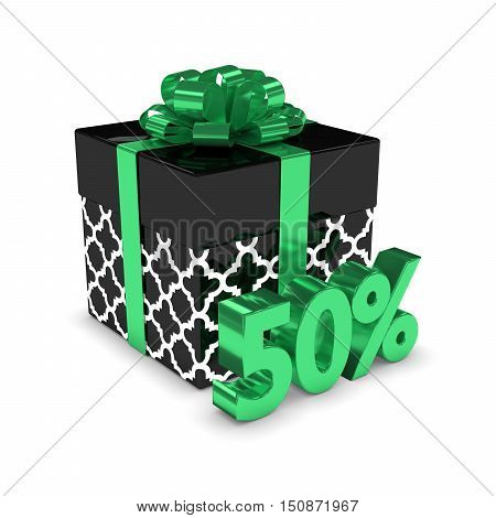 3D Rendering Of Gift Box With 50% Discount Isolated Over White