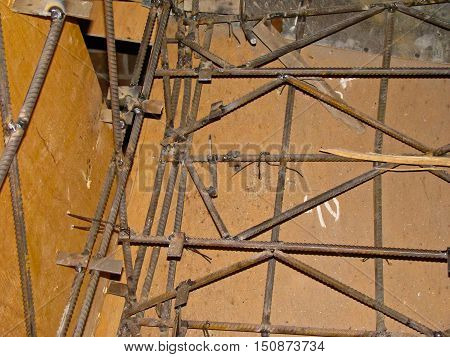 Steel armature in a formwork for stairs