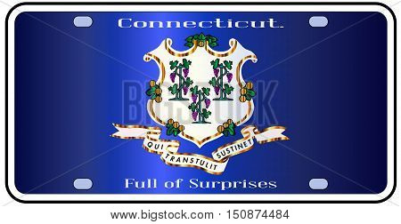 Connecticut state license plate in the colors of the state flag with icons over a white background