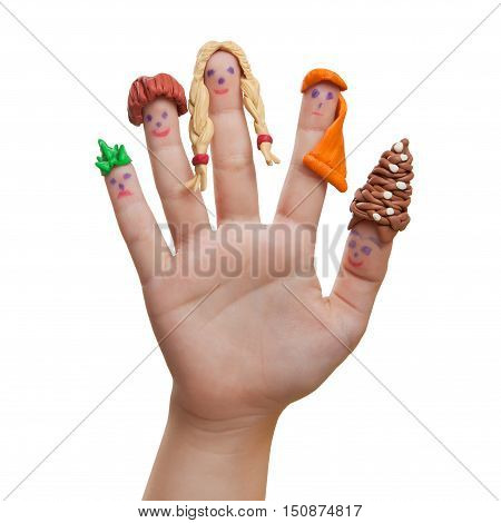 Men drawn on the fingers with plasticine hair