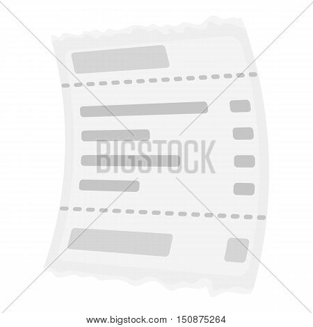 Receipt icon in monochrome style isolated on white background. E-commerce symbol vector illustration.