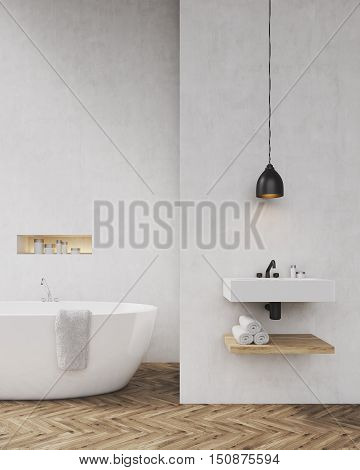 Bathroom with light gray walls bathtub sink and towel shelf. Concept of luxury interior. Toned image. Mock up. 3d rendering