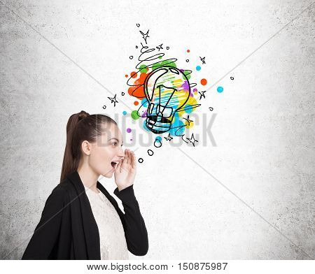 Side view of woman surprised by the bright idea that just has come to her mind. Concept of insight