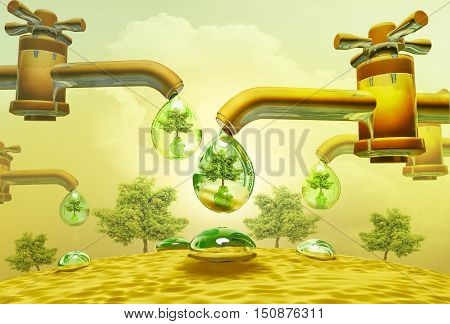 Drought heat. Water drops out of water taps (Water Scarcity Symbol) dollar and tree be reflected in drop. 3D illustration