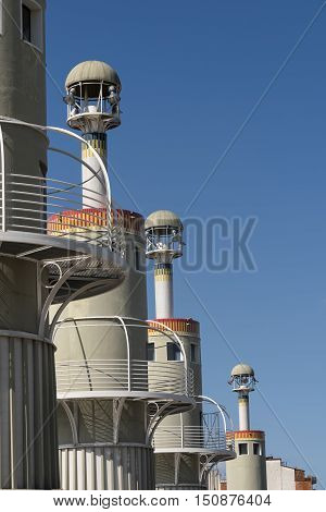 BARCELONA, SPAIN - JULY 13, 2016: Barcelona (Catalunya Spain): modern buildings of the Park of the Industrial Spain near the Sants rail station