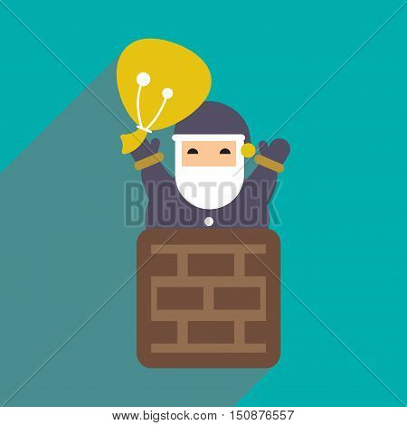 flat icon with long shadow Santa Claus in chimney