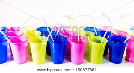 Colorful Plastic Cups With Drinking Straws
