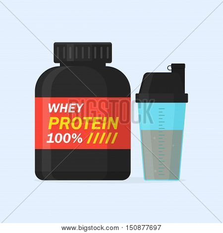 Whey protein and sports shaker vector illustration isolated from the background. Icons of sports supplements or nutrition. Protein drink in flat style.