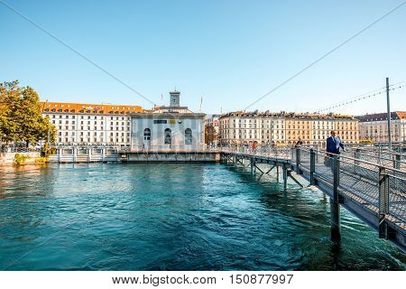 Geneva, Switzerland - June 23, 2016: Riverside with office buildings and museum in the center of Geneva city. Geneva is a financial center and worldwide center for diplomacy in Europe