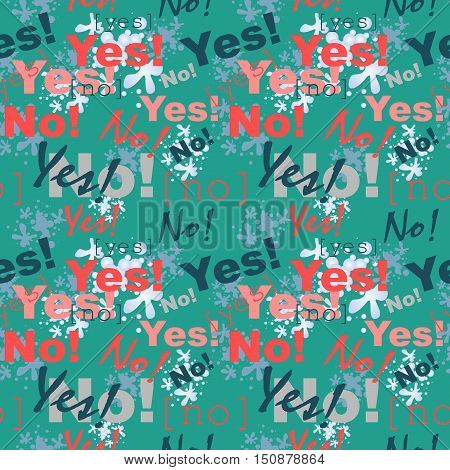Seamless pattern background with the words yes and no. Vector illustration