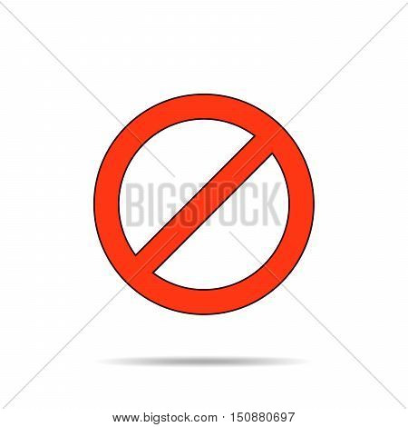 Not allowed sign. Stop sign in red color on a white background. Vector illustration.