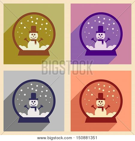 Set of flat icons with long shadow Snowman snow globe