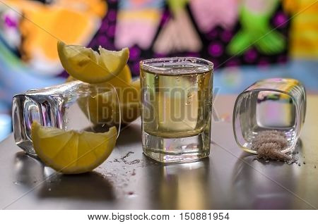 Mexican Tequila in Shot Glasses with Lime and Salt