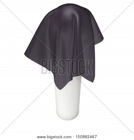 Presentation pedestal covered with dark cloth. Sphere object cover by cloth collection. 3d render isolated on white.