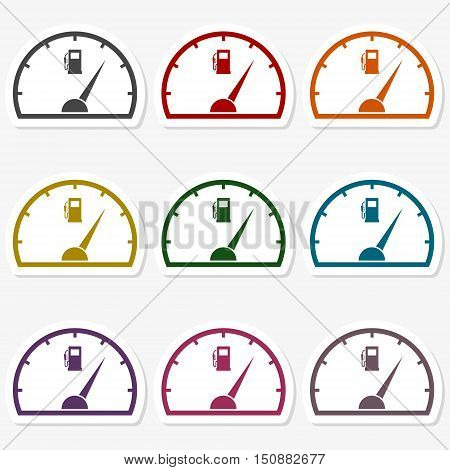 Color Fuel gauge icons set on gray background