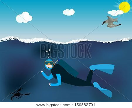 Underwater People, Cartoon  Scuba Diver. Concept of Extreme Diving Sport and Water Activity Vacation with Special Equipment. Vector Illustration EPS10