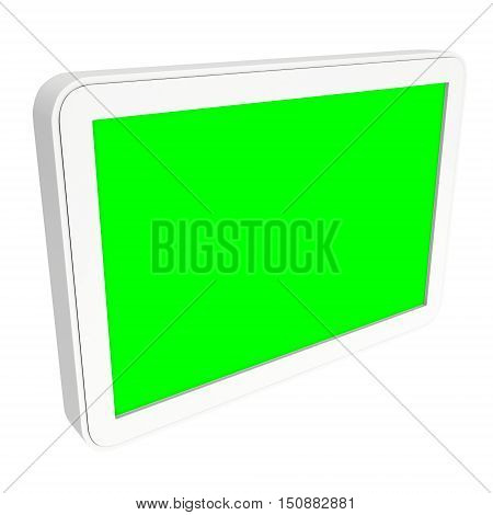 Tablet pc computer with green screen chroma key. 3d render of lcd screen pad isolated on white background. High Resolution ad template for your apps design.