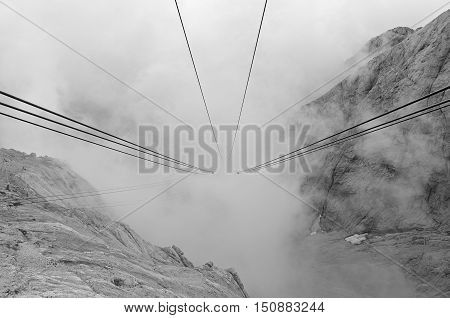 Ropeway from Marmolada glacier in Italian dolomites