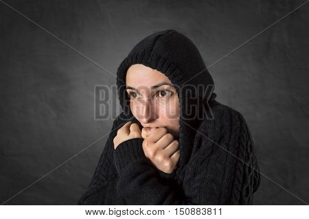 Woman suffering from a strong depression and scared.