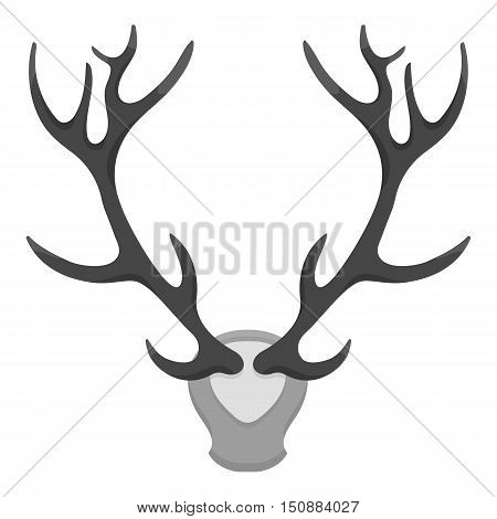 Deer antlers horns icon in monochrome style isolated on white background. Hunting symbol vector illustration.