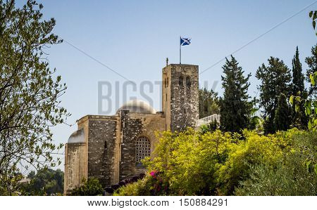 JERUSALEM ISRAEL - OCTOBER 5: View of Scottish St. Andrews Church outside the walls of the Old City in Jerusalem Israel on October 5 2016