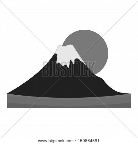 Mount Fuji icon in monochrome style isolated on white background. Japan symbol vector illustration.