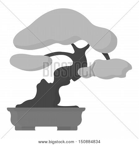Bonsai icon in monochrome style isolated on white background. Japan symbol vector illustration.