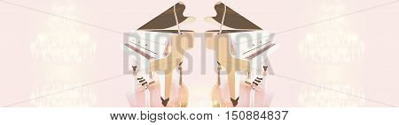 Grand piano crystal chandelier on a pink background. 3D illustration