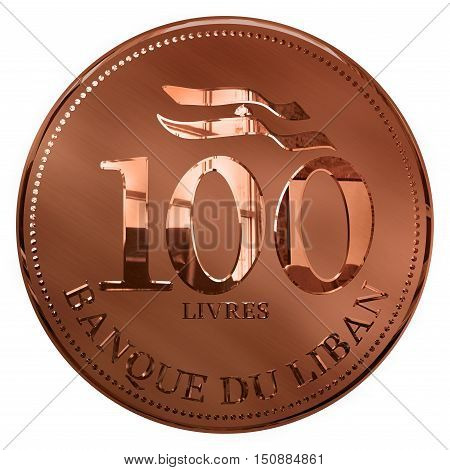 Isolated 3D Render One Hundred Pounds Copper Illustrated Coin Lebanon
