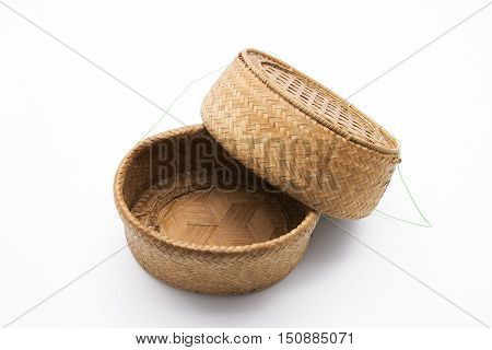 Bamboo Wicker Basket with Lid (Rice Basket) on White Background