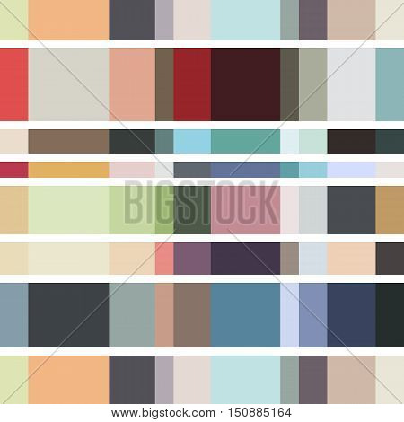 Abstract seamless geometrical pattern with colored squares on a white background.