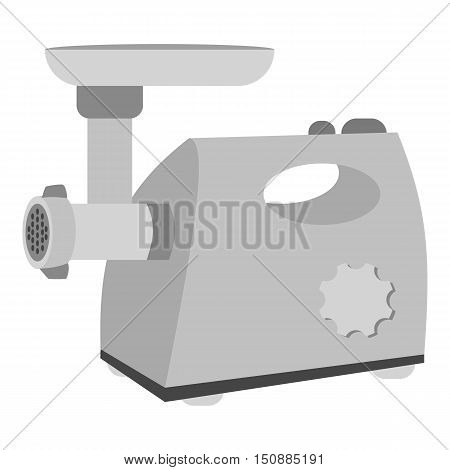 Electical meat grinder icon in monochrome style isolated on white background. Kitchen symbol vector illustration.