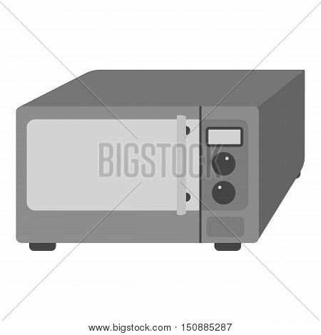 Microwave icon in monochrome style isolated on white background. Kitchen symbol vector illustration.