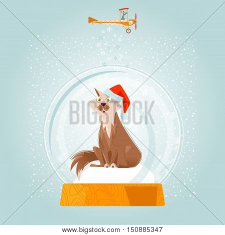 Christmas snow globe and cat wearing the Santa hat. Christmas greeting card. Vector illustration.