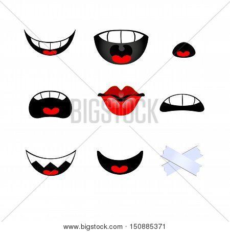 Set of smiling mouth on white background. Vector illustration
