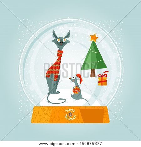 Christmas snow globe cat and mouse. Christmas greeting card. Vector illustration.