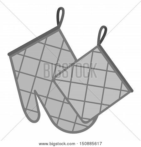 Oven glove and pot holder icon in monochrome style isolated on white background. Kitchen symbol vector illustration.