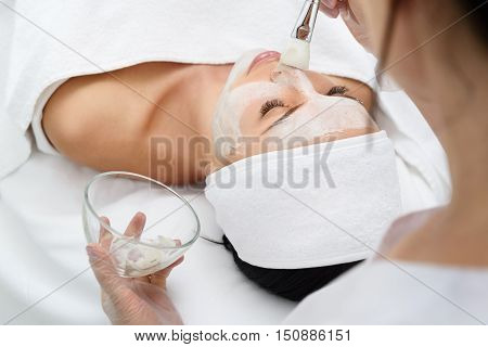 Relaxed young woman is getting facial skin care treatment at beauty salon. Beautician is touching brush with clay to her nose