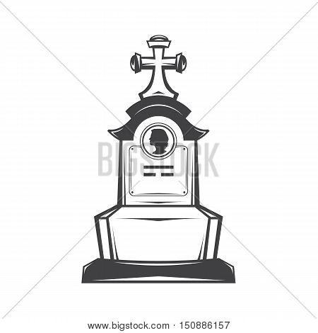 Vector isolated image of contour the grave gravestone monument depicting the profile of woman. Headstone for print and web design funeral services. Burial and funeral