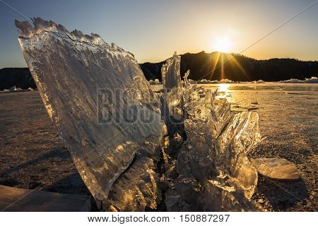 Comb Transparent Ice Is Above A Crack At Sunset, Olkhon Island, Lake Baikal