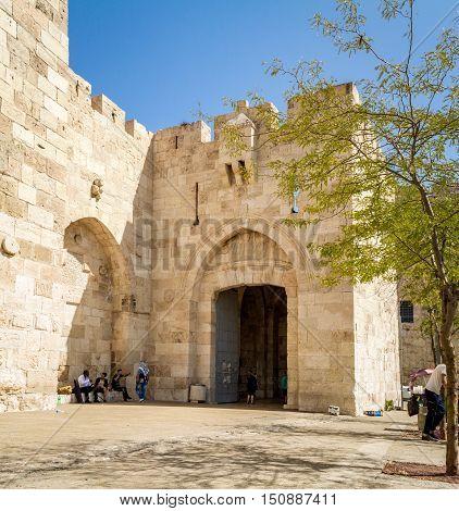JERUSALEM ISRAEL - OCTOBER 5: Jaffa Gate of the Old City of Jerusalem Israel on October 5 2016