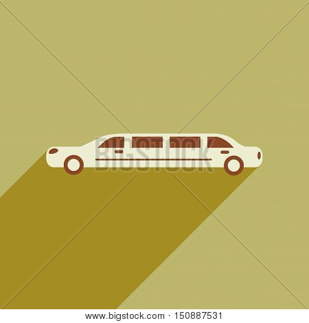 Flat web icon with long shadow limousine