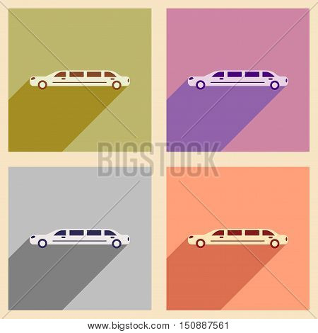 Set of flat web icons with long shadow limousine