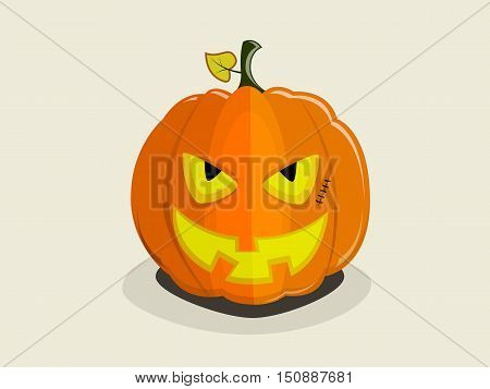 Halloween smiling pumpkin with a cunning evil devil's face on plain background