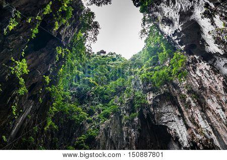 sunbeam interior Limestone formations in the Batu Caves Kuala Lumpur